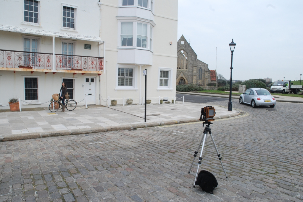 Portrait of 5x4 Large Format Camera and Megan Friday in Old Portsmouth, Portsmouth, England.
