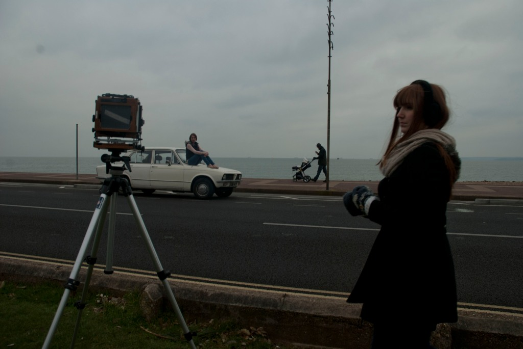 Photograph of Nicola Dyson, Stephanie Brake, and Rachel Lindsey at Beach in Portsmouth, England.