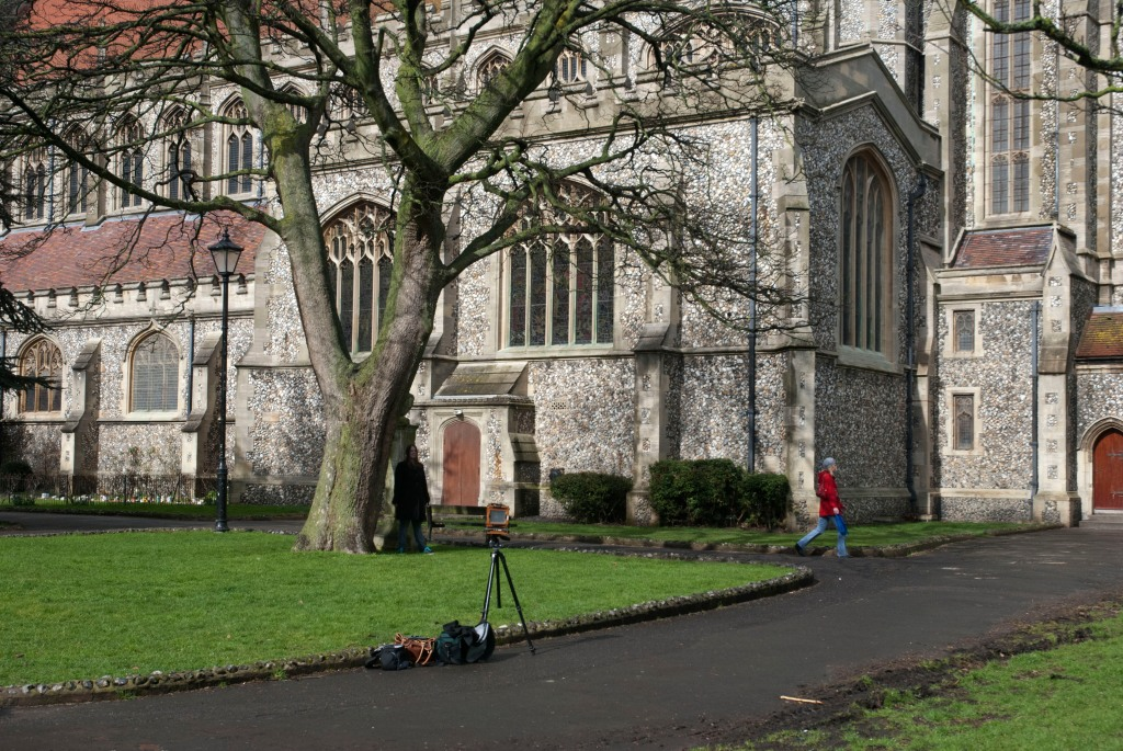 Portrait of 5x4 Large format camera and Sophie Shaw at St Mary's Church Portsmouth, England.