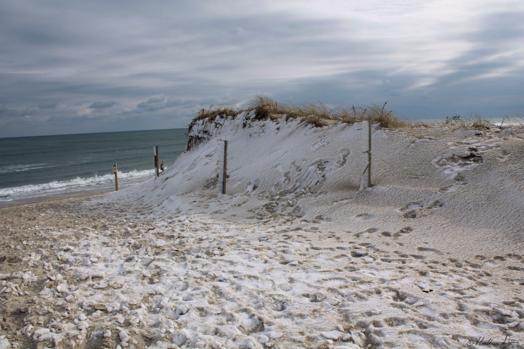 Photograph of snow on beach