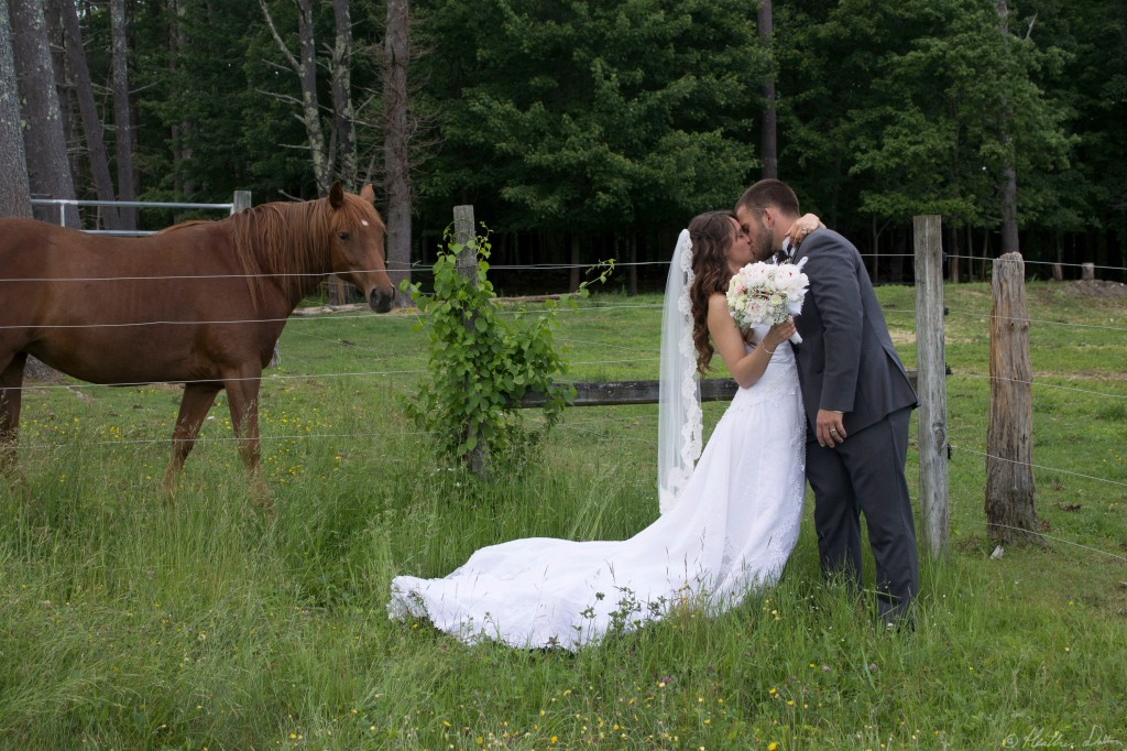 Farm wedding kiss photograph