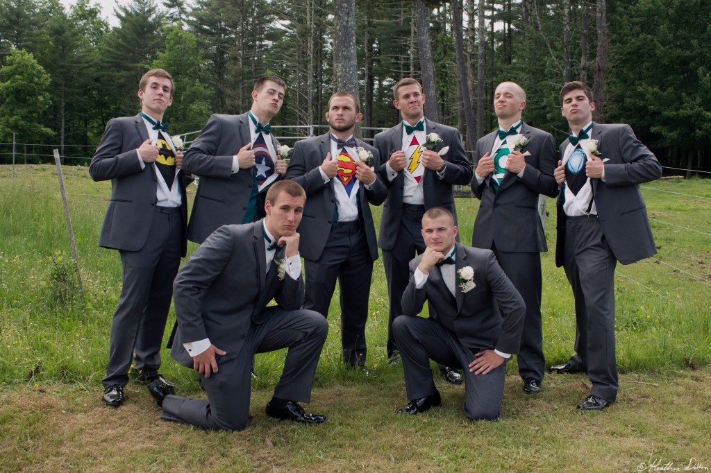 Funny Wedding photograph Superhero Groomsmen