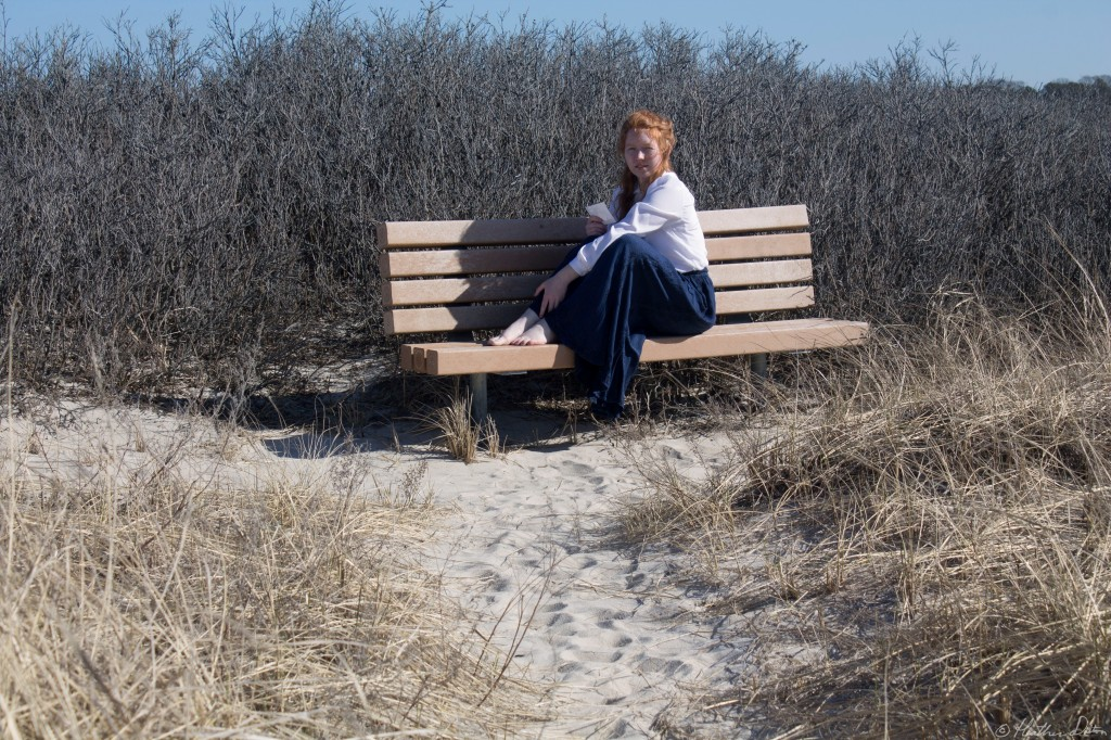 Woman on Bench Beach Cape Cod