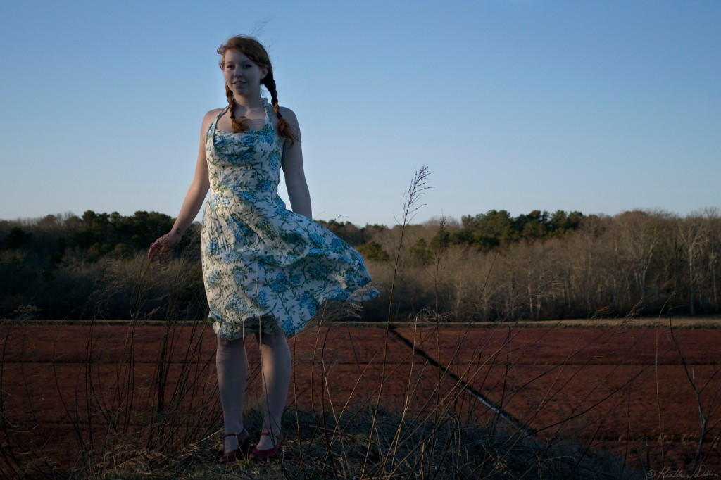 woman standing in blue floral dress
