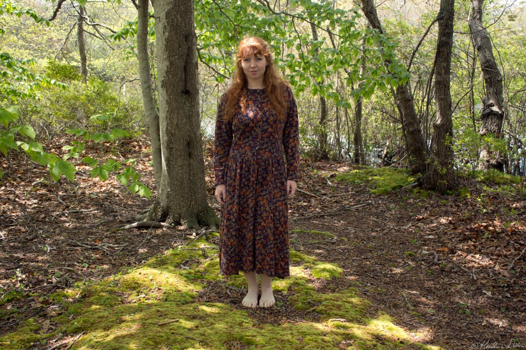 photograph woman standing woods