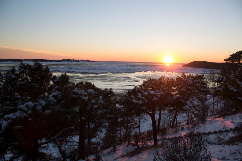 snowy sunset photograph wellfleet